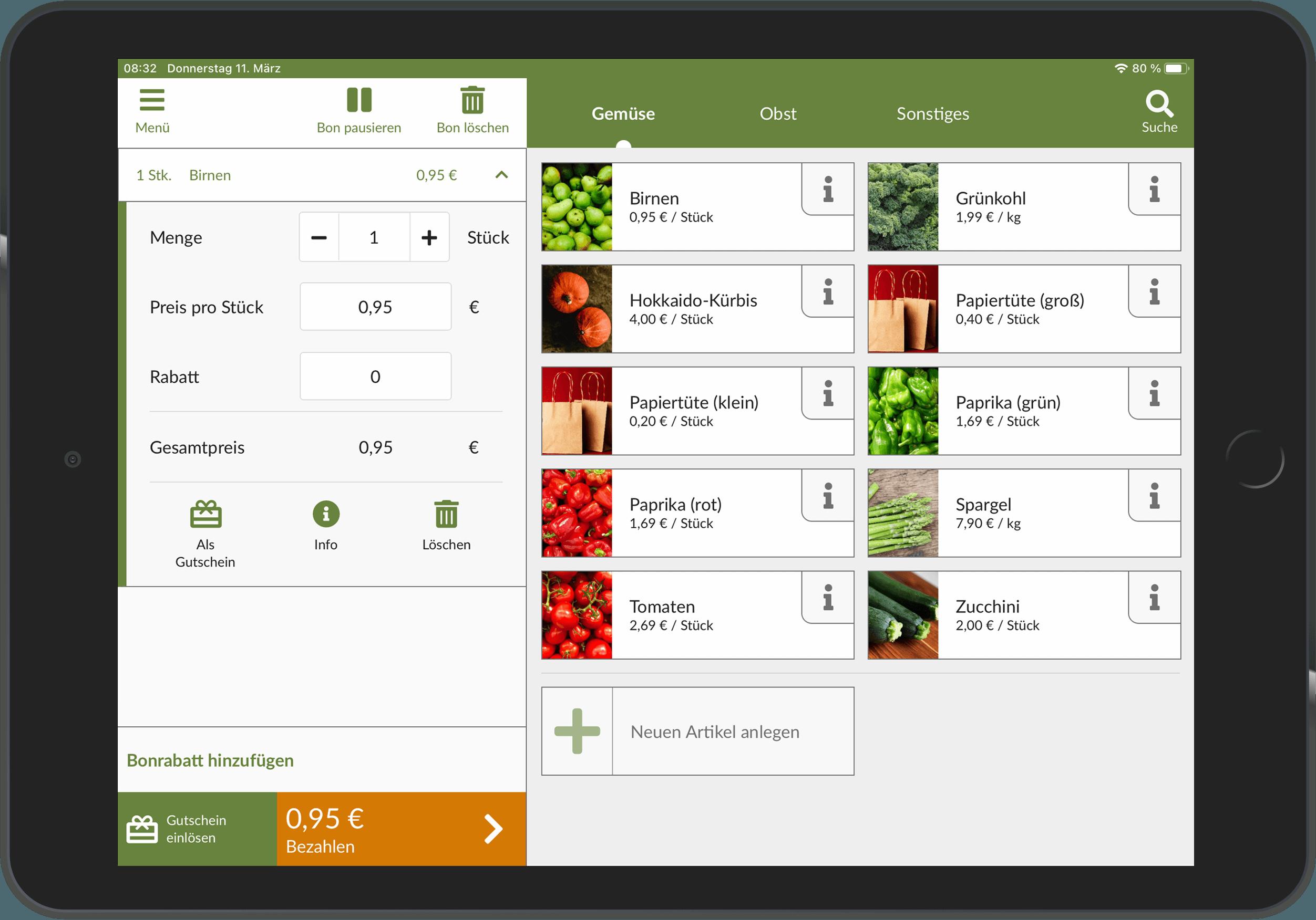 Tablet mit autemio Kassen-App